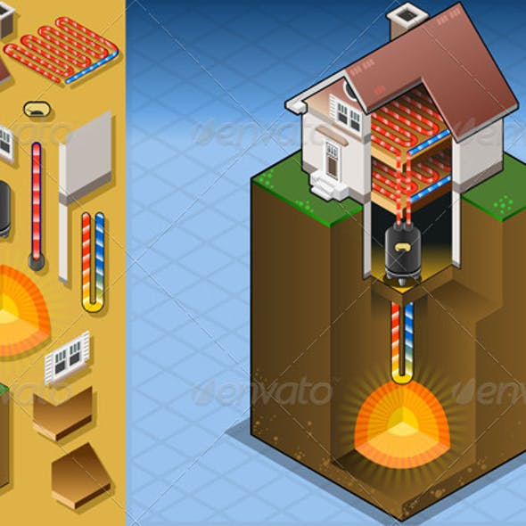 Isometric Geothermal Heat Pump Diagram