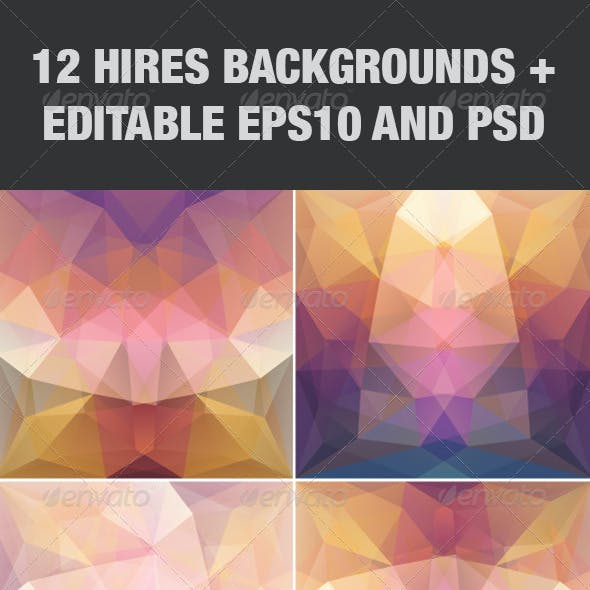 Violet Abstract Triangular Backgrounds Set