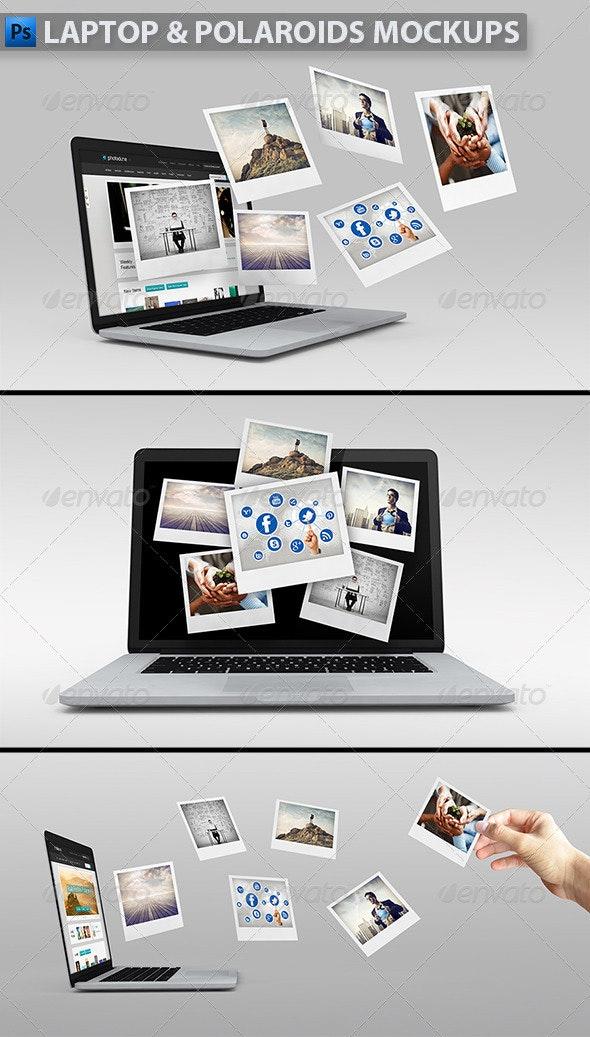 Laptop with Polaroids Mockup - Product Mock-Ups Graphics