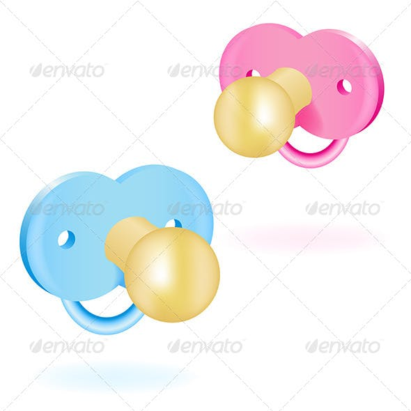 Two Baby Pacifiers Pink and Blue