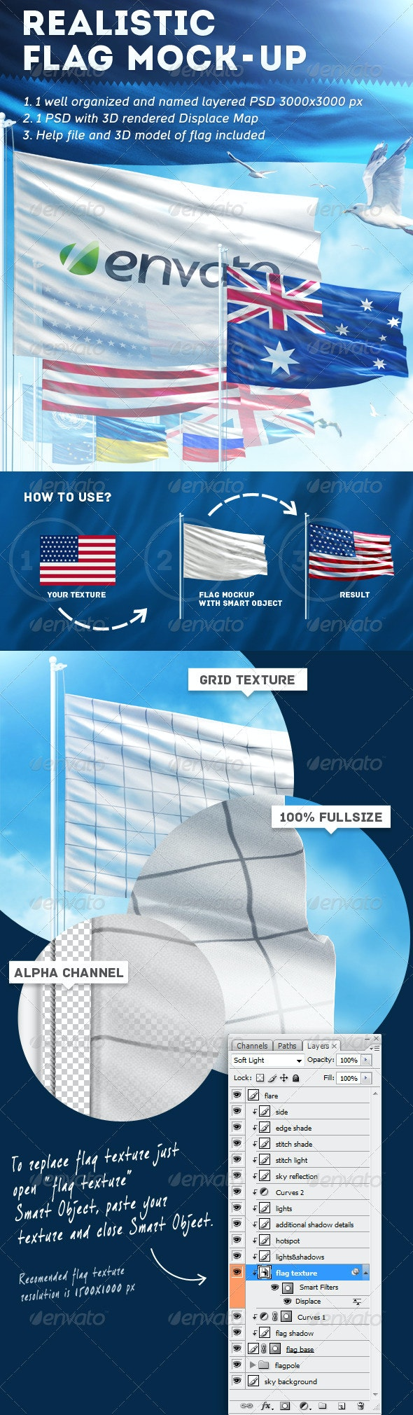 Realistic Flag Mock-Up - Miscellaneous Product Mock-Ups