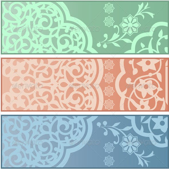 Banners with Islamic Ornaments