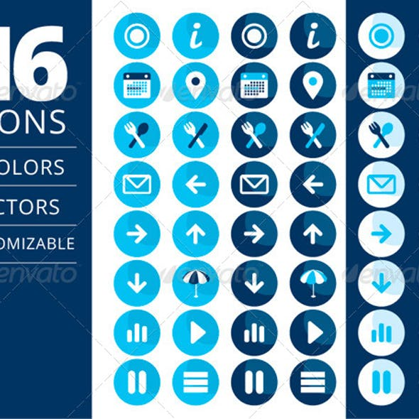 16 Blue and White Retreat Icon Vector Set