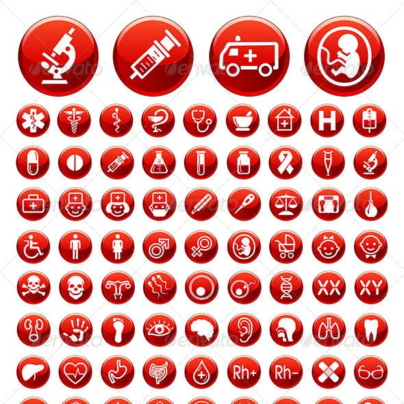 Set of medical icons and warning signs