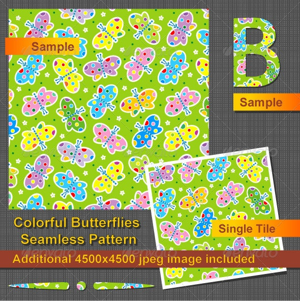 Colorful Butterflies Seamless Pattern - Seasons Nature