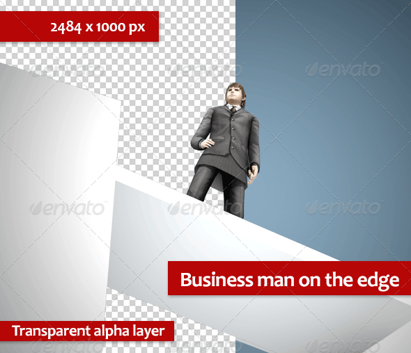 Business Man on the Edge - Characters 3D Renders