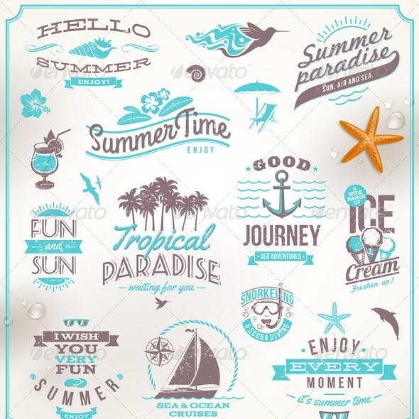 Set of Travel and Vacation Emblems and Symbols