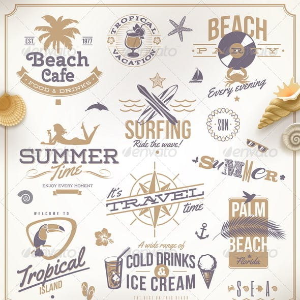Vector Set of Travel and Vacation Emblems