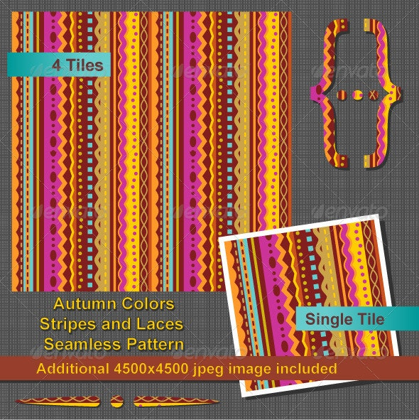 Autumn Colors Stripes and Laces Seamless Pattern - Patterns Decorative