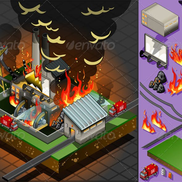 Isometric Fire Disaster in Coal Plant