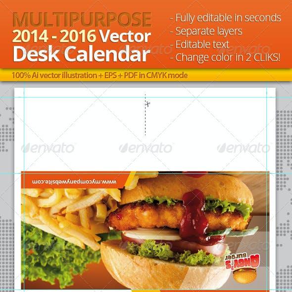 2014, 2015 and 2016 Multi-purpose Desk Calendar