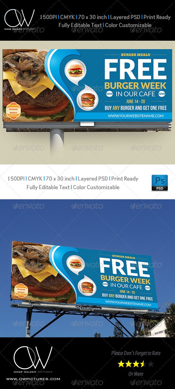 Burger Restaurant Billboard Template Vol.2 - Signage Print Templates