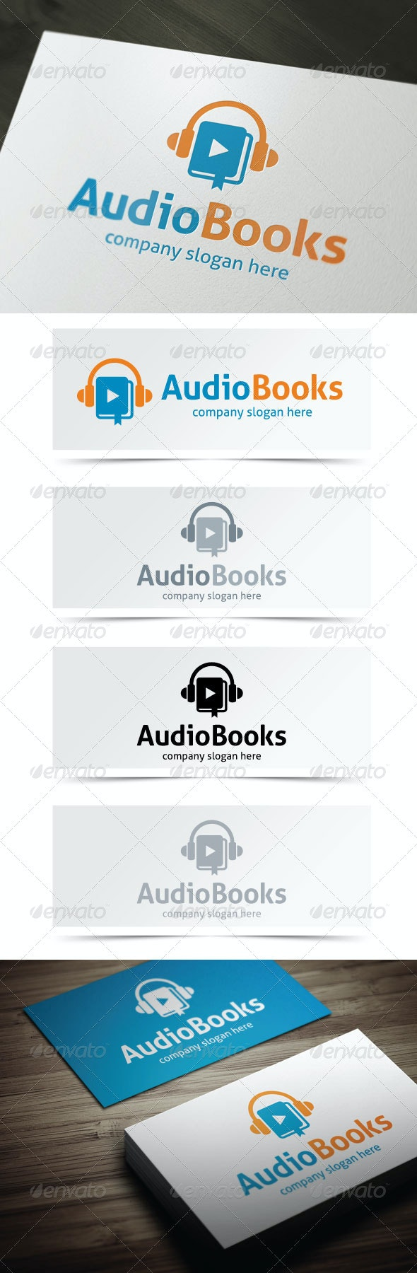 Audio Books - Objects Logo Templates