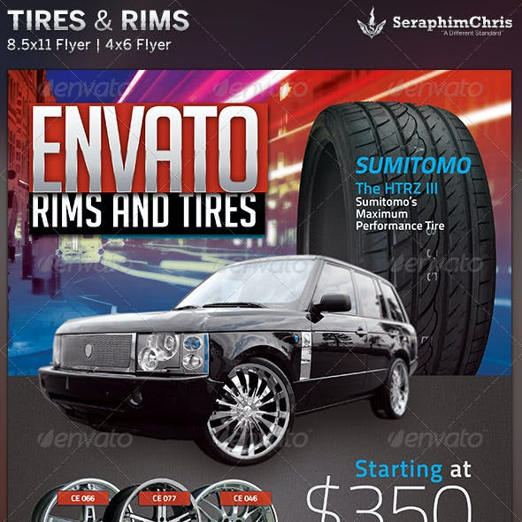 Tires and Rims Sales Ad Flyer Template 2