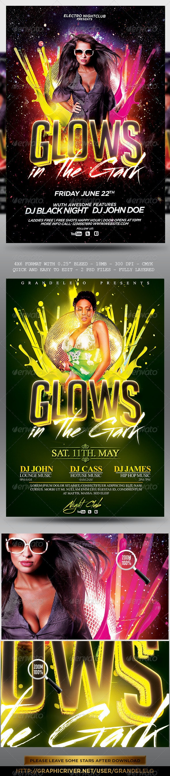 Glows in the Dark Party Flyer - Clubs & Parties Events