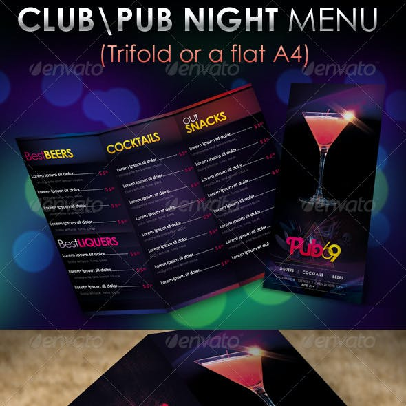"""Pub69"" Club \ Pub Night Menu Design"