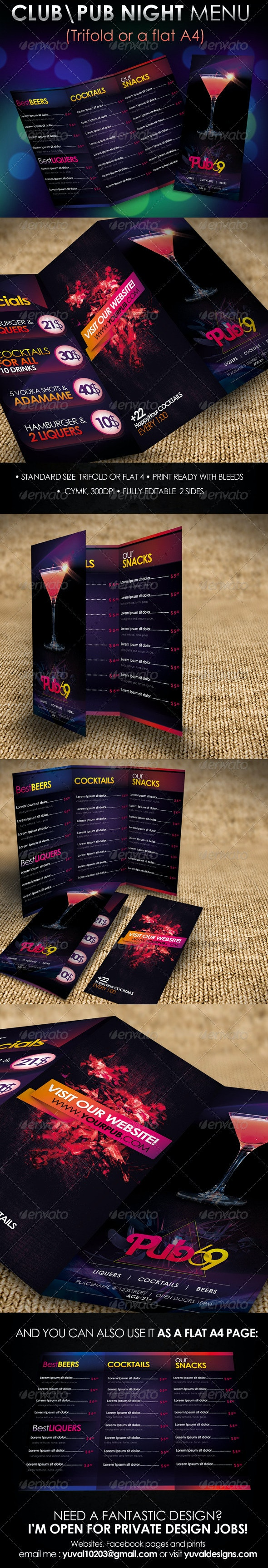 """Pub69"" Club \ Pub Night Menu Design - Food Menus Print Templates"