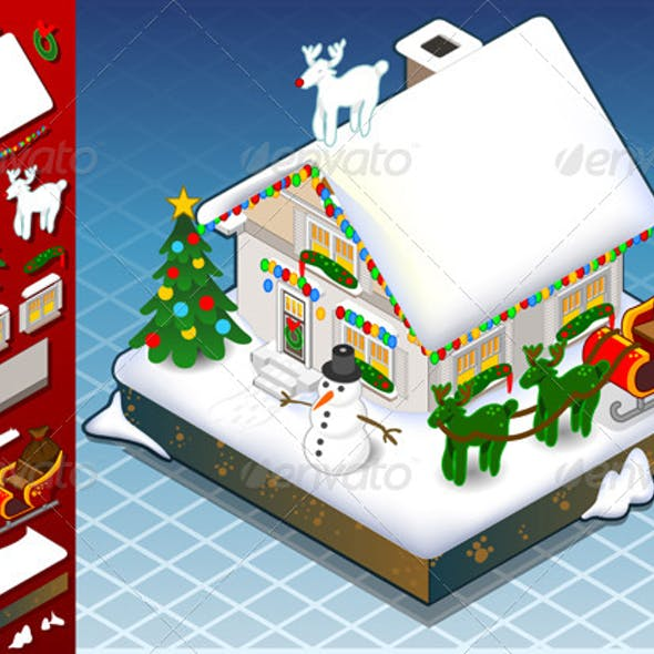 Isometric Christmas Snow Capped House