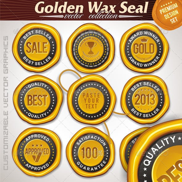 Gold Wax Seal. Vector Set
