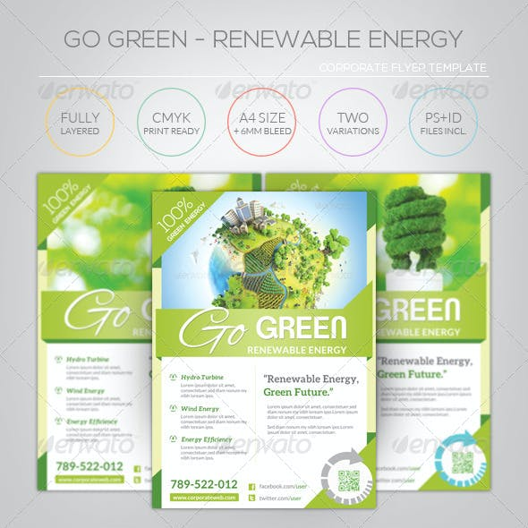 Renewable Energy - Go Green - Flyer Template