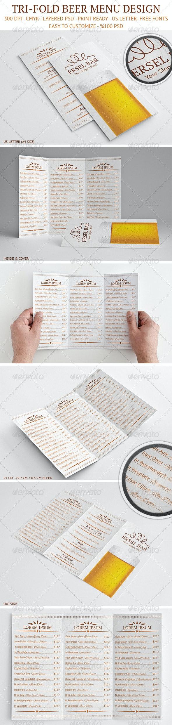 Tri-Fold Beer Menu Design - Food Menus Print Templates