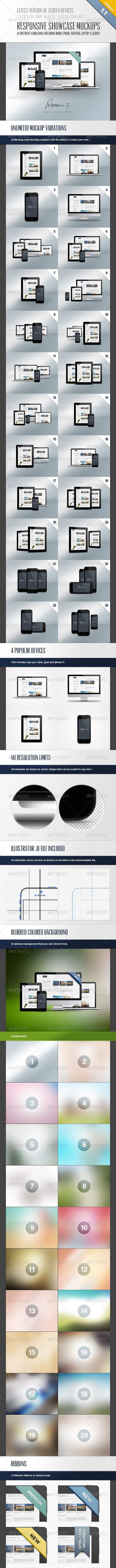 Responsive Showcase Mock-Ups - Multiple Displays
