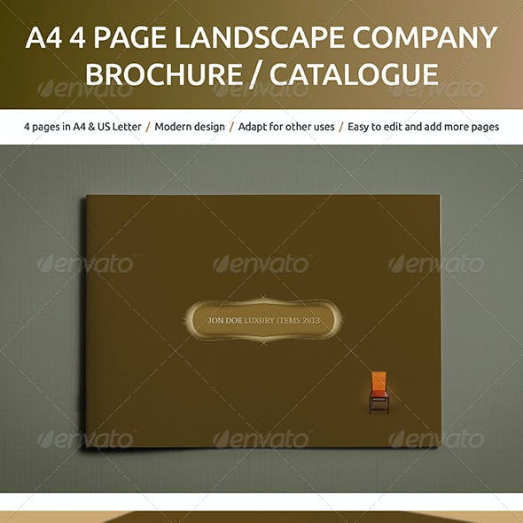 A4 4 page Landscape Company Brochure and Catalog