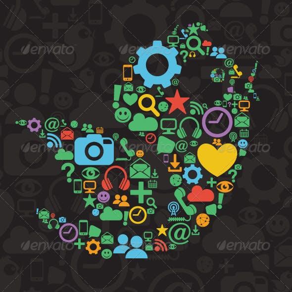 Social Media Bird Illustration