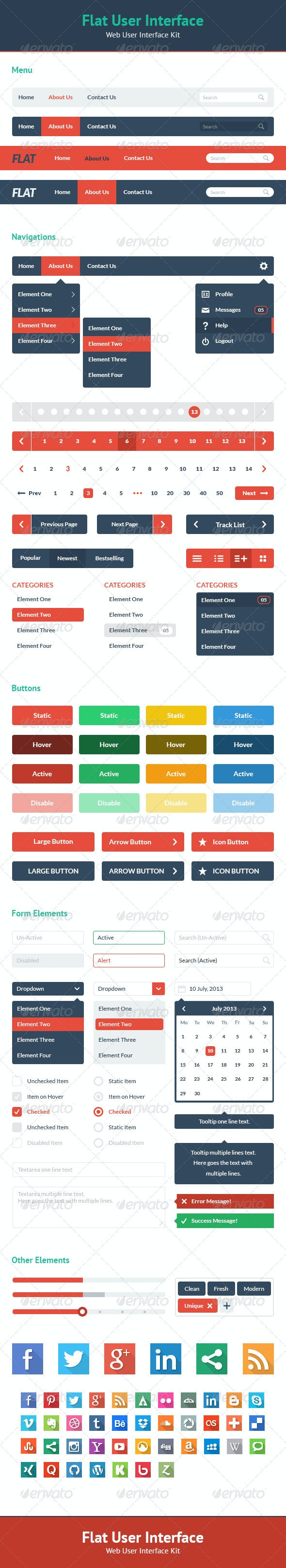 Flat User Interface - Web UI Kit - User Interfaces Web Elements