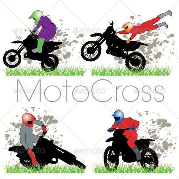 Moto Cross Silhouettes Set