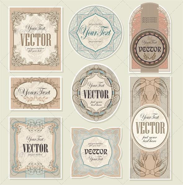 Set Vector Vintage Labels - Retro Technology