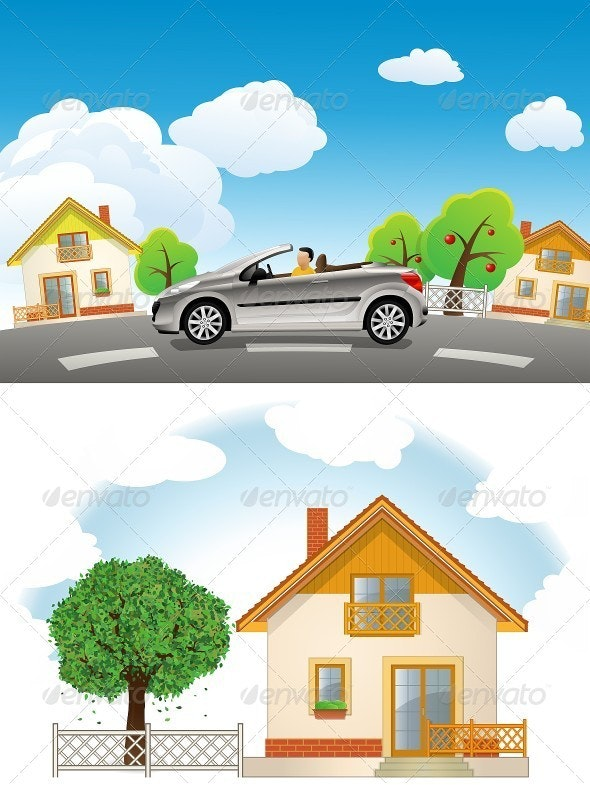 Residential Street. Landscape with House - Buildings Objects