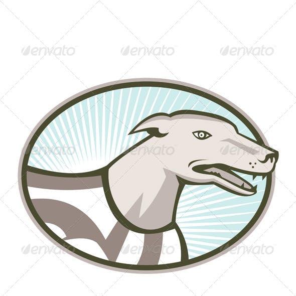 Greyhound Dog Head Retro