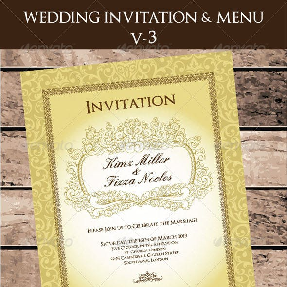 Wedding Invitation & Menu Cards V-3
