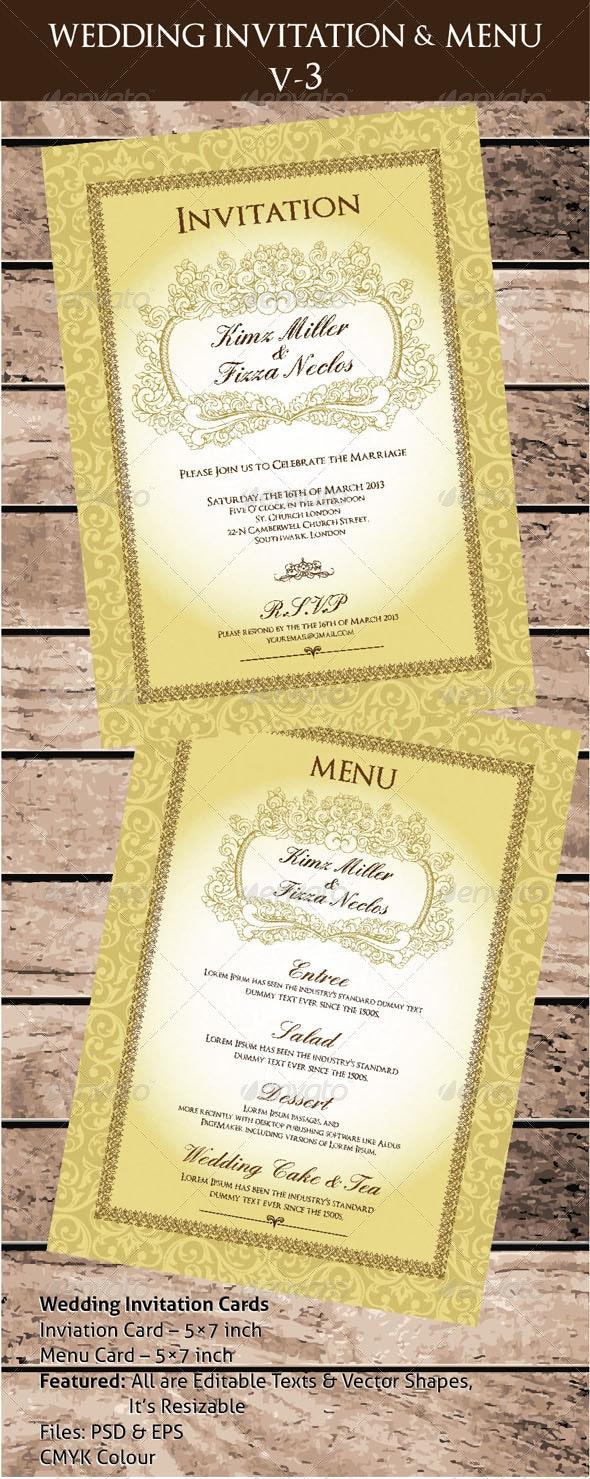 Wedding Invitation & Menu Cards V-3 - Invitations Cards & Invites