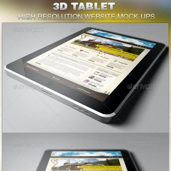 3D Tablet Website Mockup Template