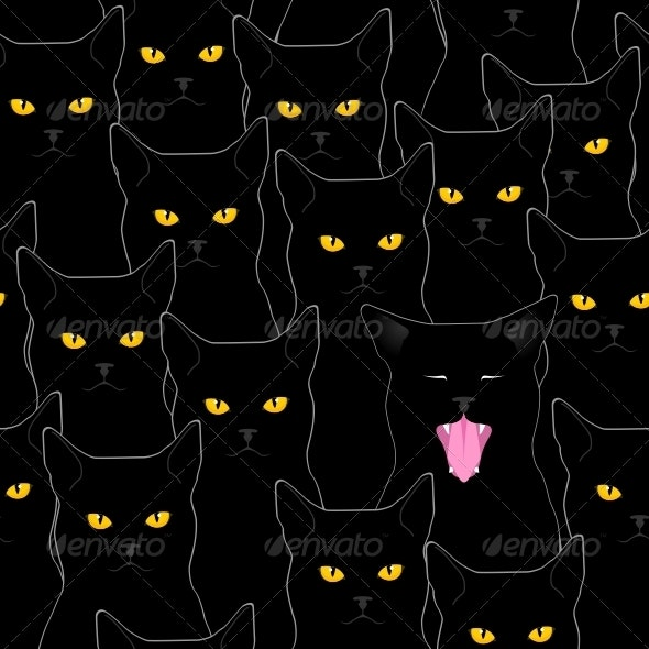 Black Cats Pattern - Animals Characters