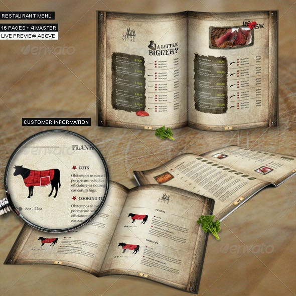 Steakhouse Menu Card in Western Style