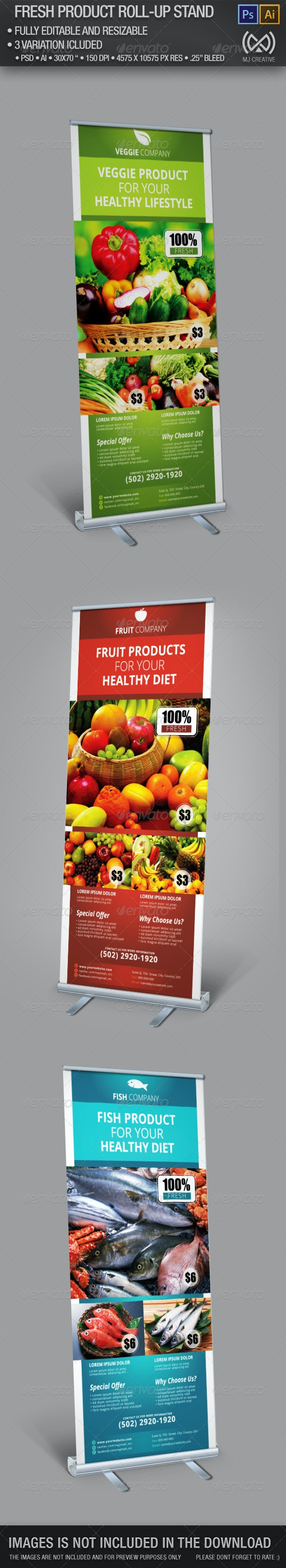 Fresh Product Roll Up Stand Banner - Signage Print Templates