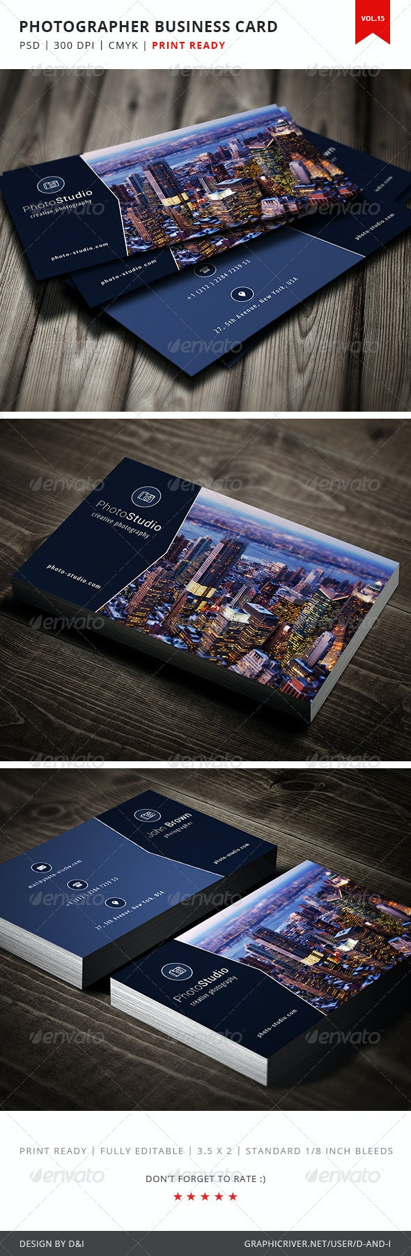 Photographer Business Card - Vol.15 - Industry Specific Business Cards