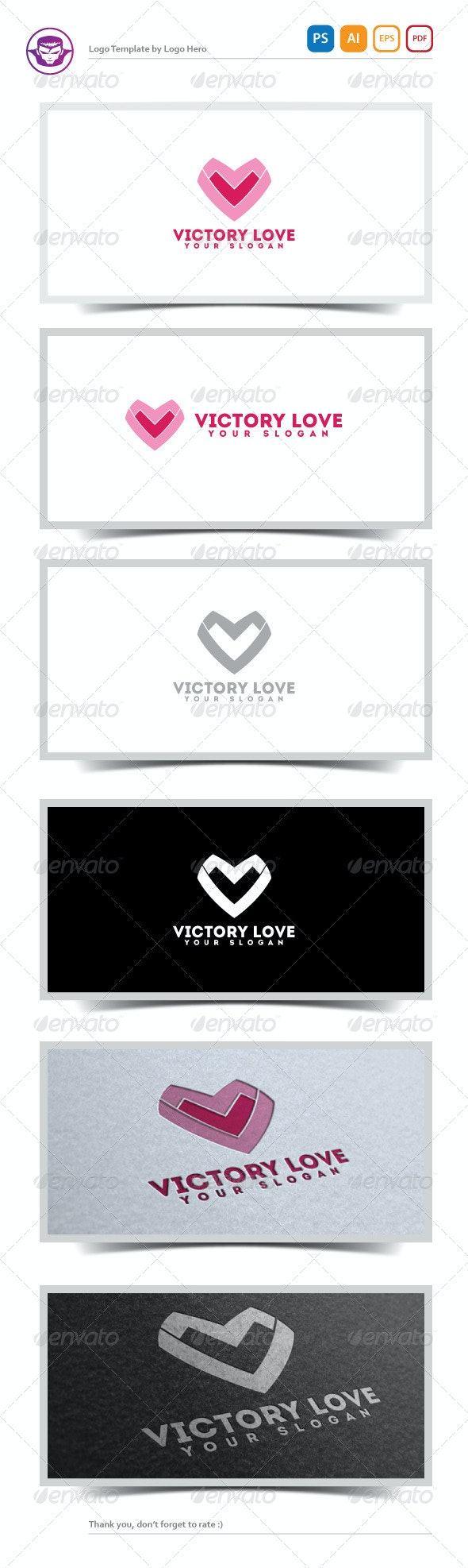 Victory Love Logo Template - Letters Logo Templates