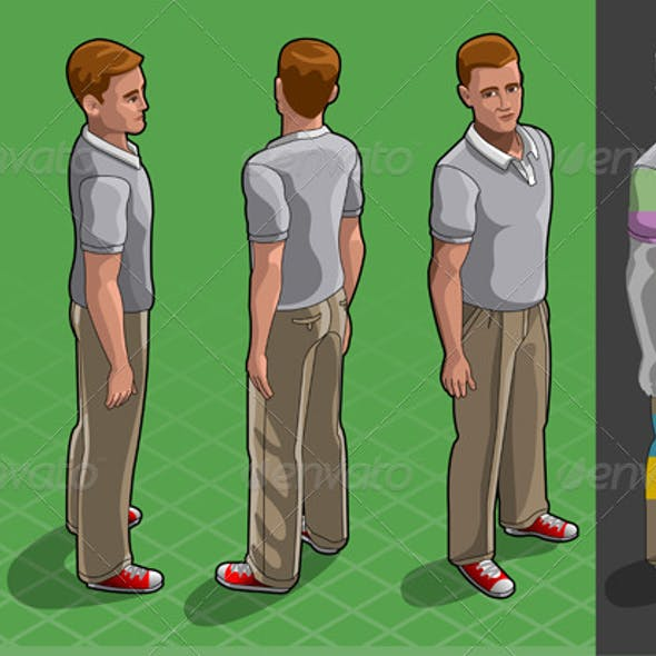 Isometric Service Man in Four Positions