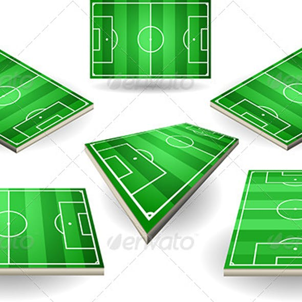 Set of Soccer Fields in Six Positions