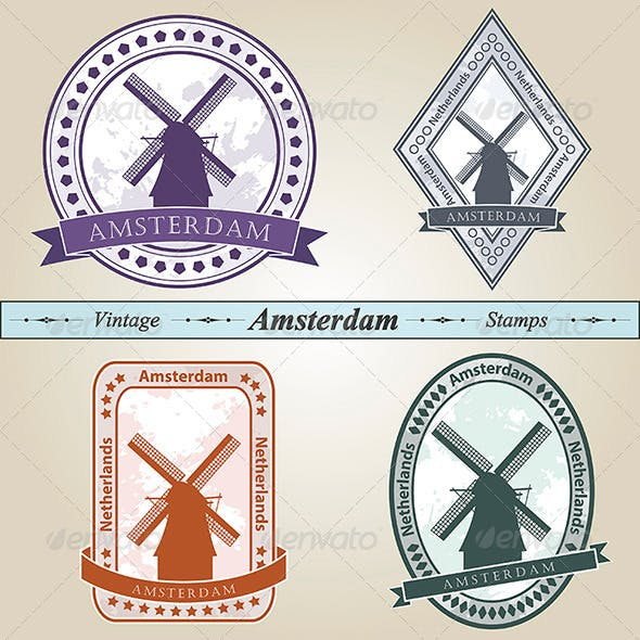 Vintage Stamp Amsterdam