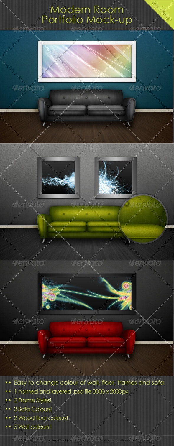 Modern Room Portfolio Mock-Up - Backgrounds Graphics