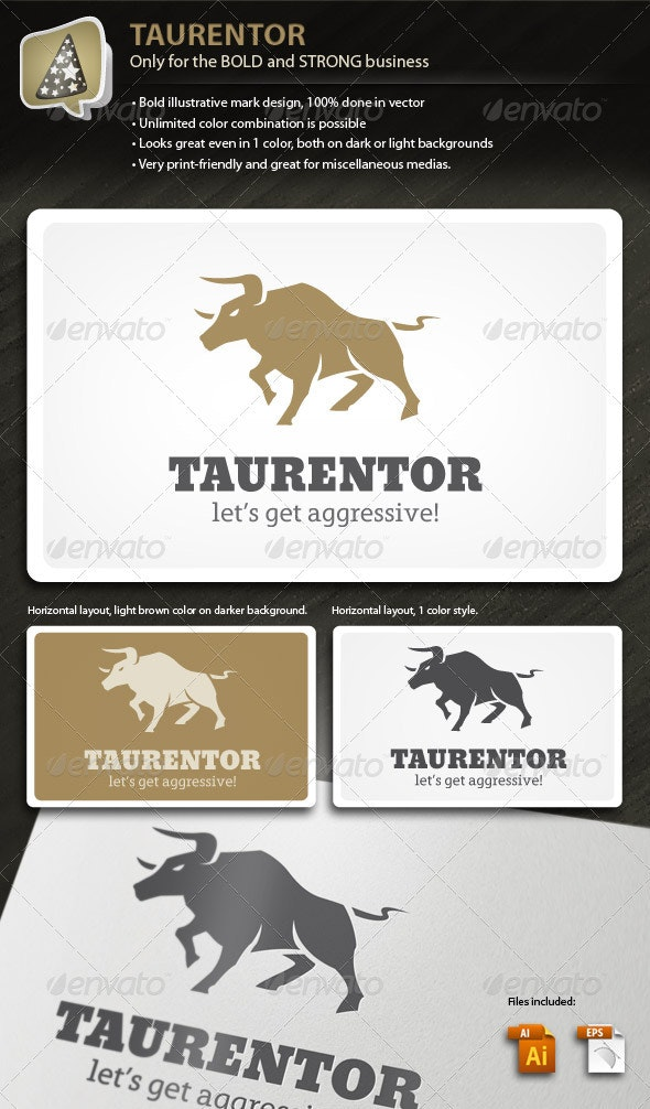 Taurentor - Bold and Strong Mark for your Business - Animals Logo Templates