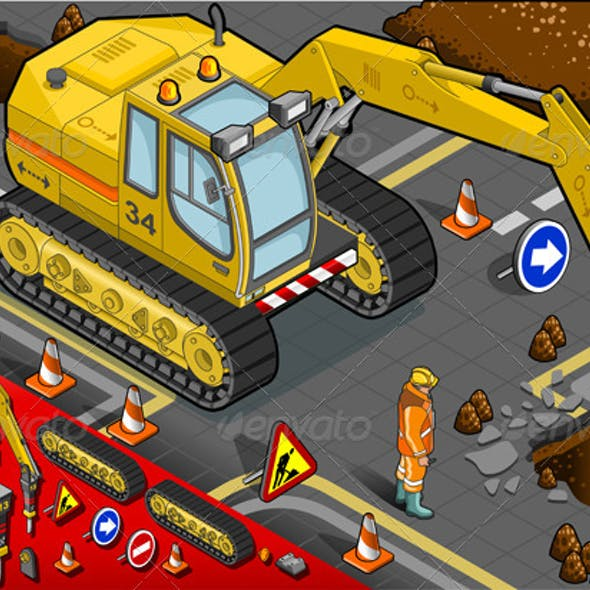 Download Isometric Chisel Excavator in Front View