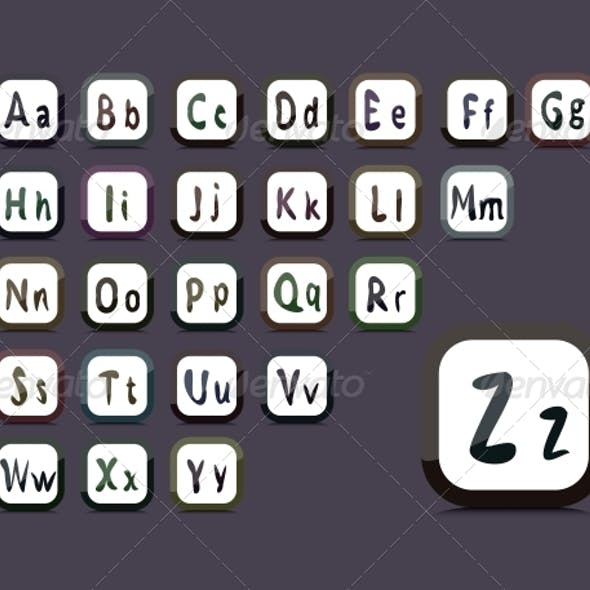Editable English Alphabet - Collage of 26 Buttons