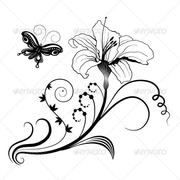 Abstract Floral Frame for Design