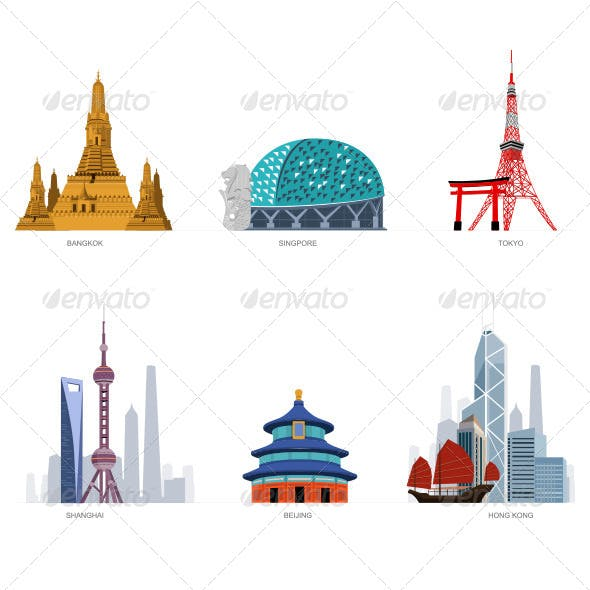 Asian Famous Cities Illustration